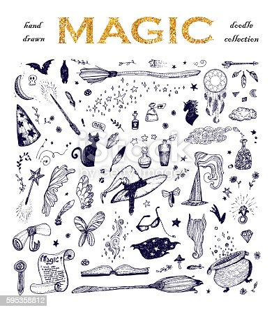 Cartoon doodle magic set, black ink sketch: wizard hat, fairy book, roll, potion, crystal, feathers, star... Hand drawn vector illustration.
