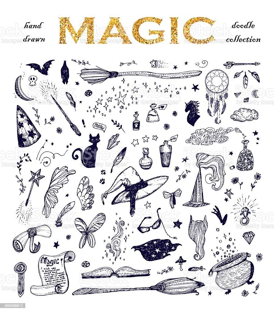 Cartoon doodle magic set. vector art illustration