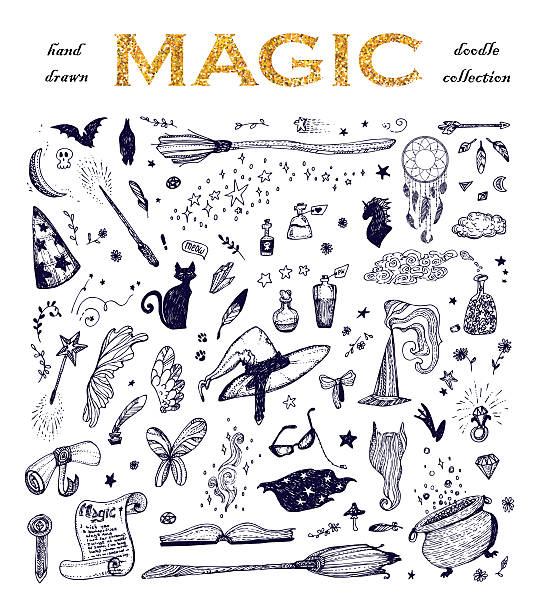 cartoon doodle magic set. - wunschkinder stock-grafiken, -clipart, -cartoons und -symbole