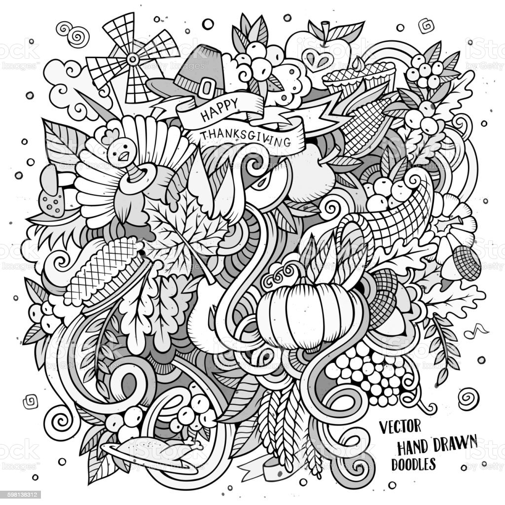 Cartoon Doodle Thanksgiving illustration. vector art illustration