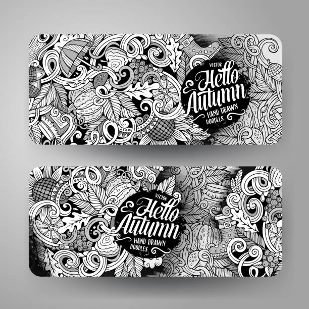 illustrazioni stock, clip art, cartoni animati e icone di tendenza di cartoon doodles autumn banners - mockup outdoor rain