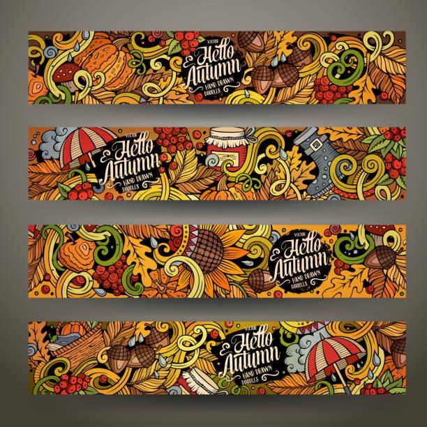 illustrazioni stock, clip art, cartoni animati e icone di tendenza di cartoon doodles autumn banners - mockup outdoor rain