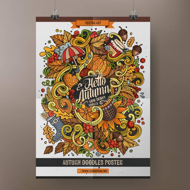 illustrazioni stock, clip art, cartoni animati e icone di tendenza di cartoon doodles autumn poster - mockup outdoor rain