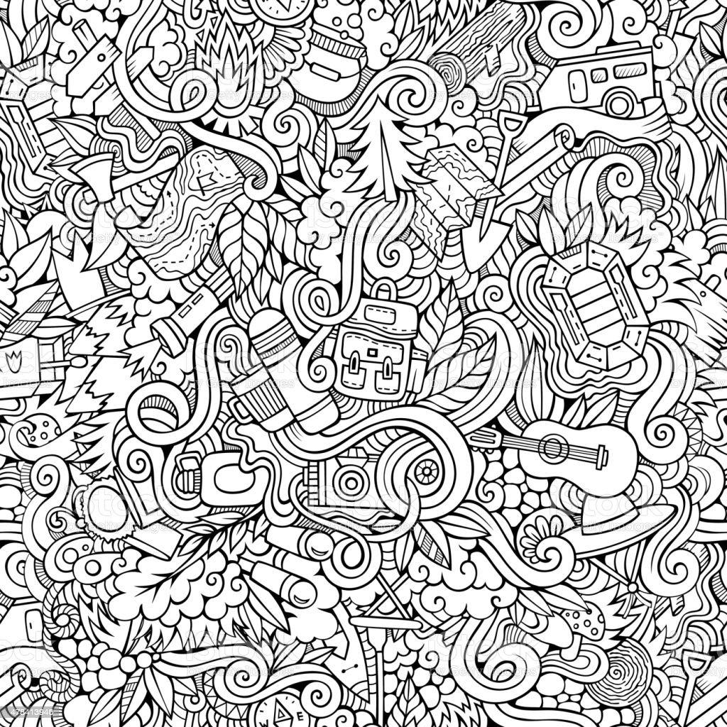 Cartoon vector doodles hand drawn camping seamless pattern