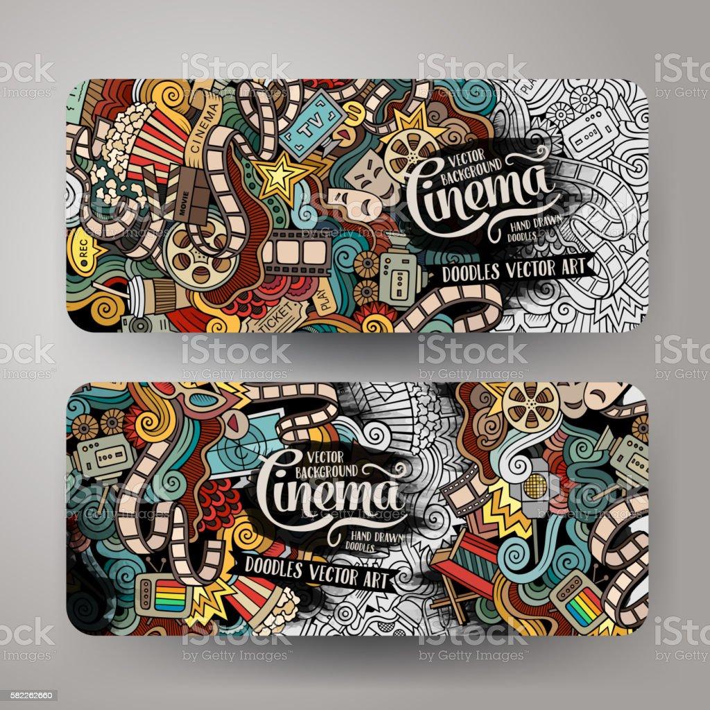 Cartoon doodles cinema frame design royalty-free cartoon doodles cinema frame design stock illustration - download image now