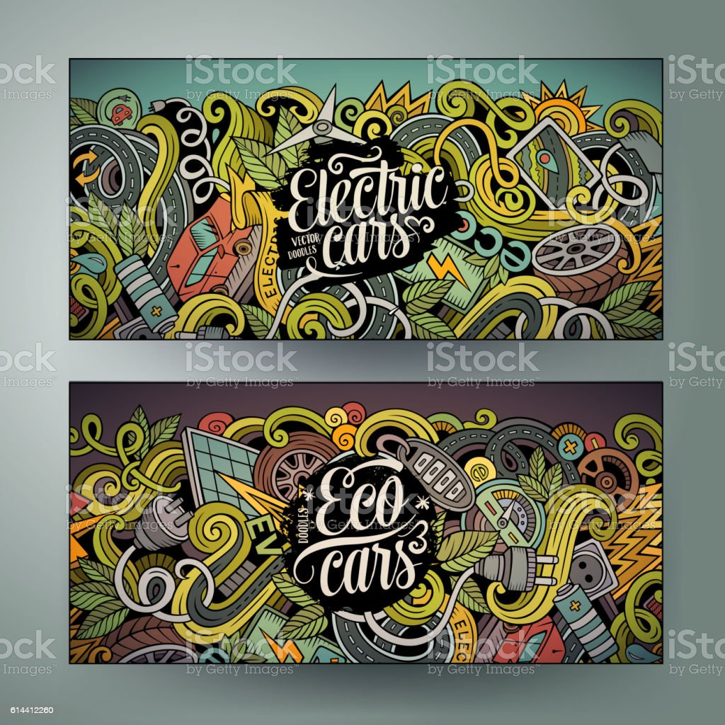 Cartoon doodles electric cars banners vector art illustration