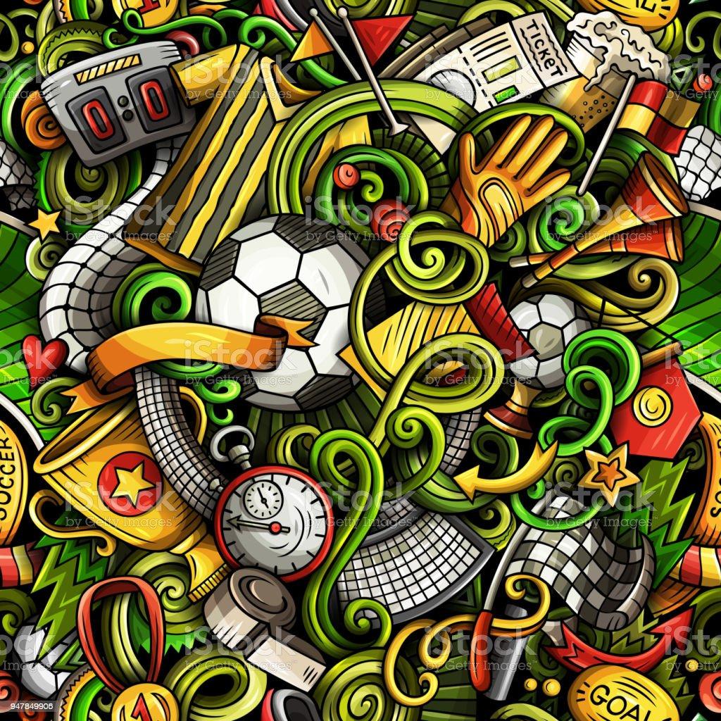 Cartoon Kritzeleien Fußball nahtlose Muster – Vektorgrafik