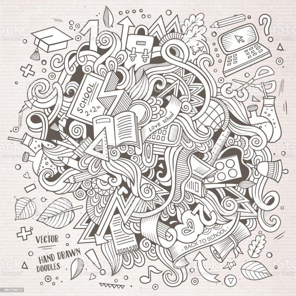 Cartoon doodles hand drawn School illustration cartoon doodles hand drawn school illustration - immagini vettoriali stock e altre immagini di arredamento royalty-free