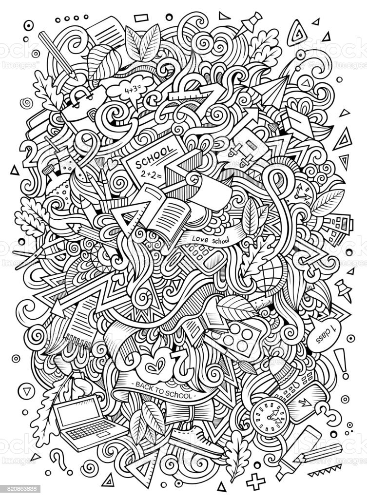 Cartoon doodles hand drawn School illustration vector art illustration