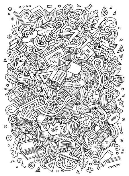 ilustraciones, imágenes clip art, dibujos animados e iconos de stock de garabatos de dibujos animados ilustración escuela dibujado a mano - fondos escolares