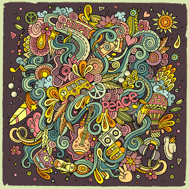cartoon doodles hippie illustration - 1960s style stock illustrations, clip art, cartoons, & icons