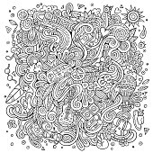 Cartoon doodles hippie illustration