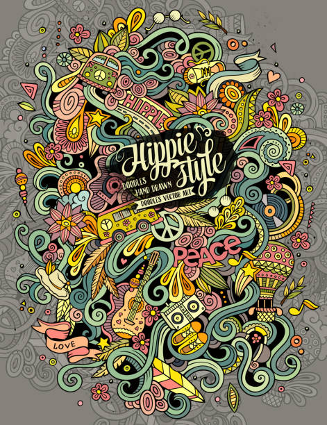 cartoon doodles hippie illustration - hippie fashion stock illustrations, clip art, cartoons, & icons