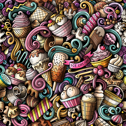 Cartoon doodles Ice-cream seamless pattern.
