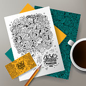 Cartoon cute line art vector hand drawn doodles India corporate identity set. Templates design of business card, flyers, posters, papers on the table