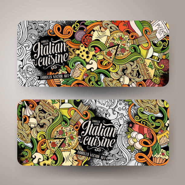 cartoon doodles italian food banners - risotto stock-grafiken, -clipart, -cartoons und -symbole