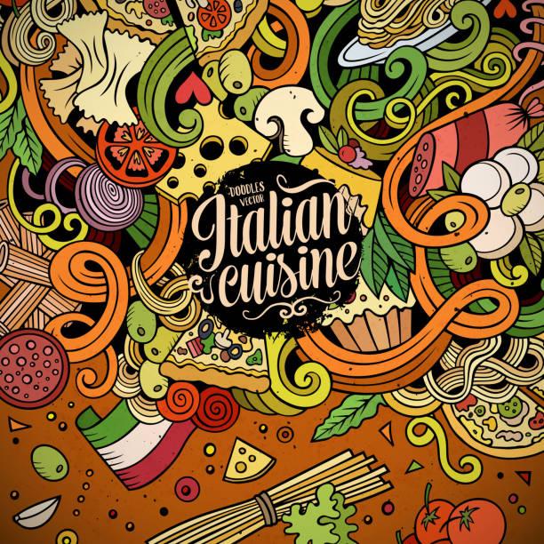 comic kritzeleien italienische küche grenze - risotto stock-grafiken, -clipart, -cartoons und -symbole