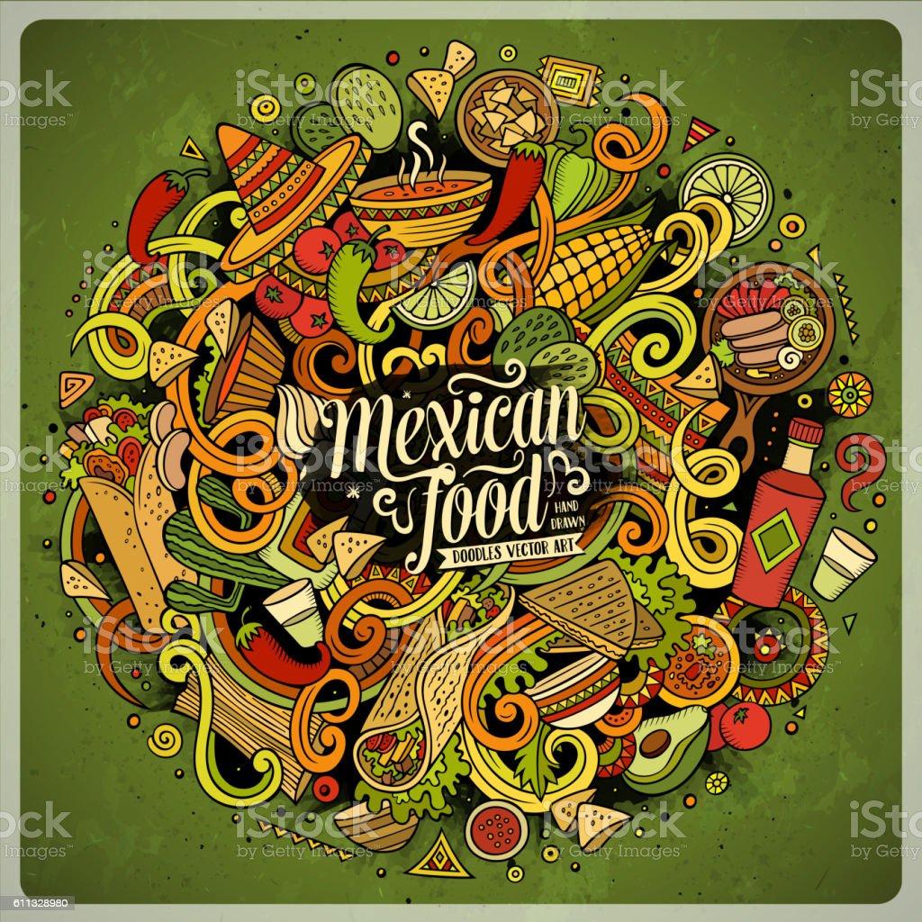 Cartoon doodles Mexican food illustration – Vektorgrafik