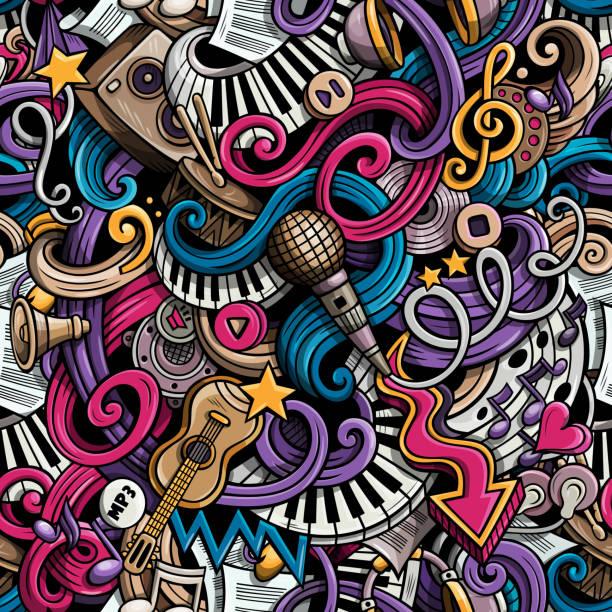 cartoon doodles music seamless pattern - musiksymbole stock-grafiken, -clipart, -cartoons und -symbole