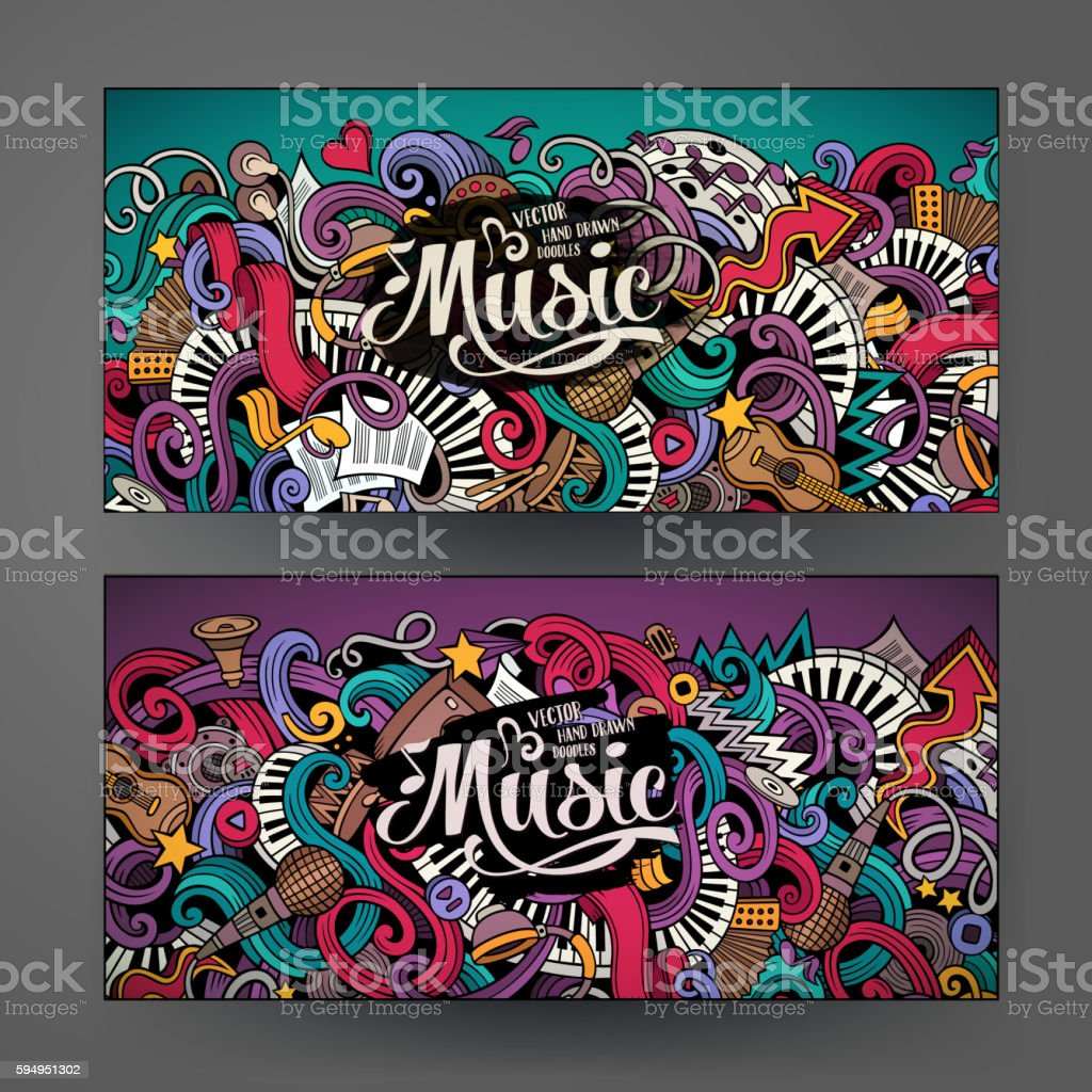 Cartoon doodles Musical banners vector art illustration