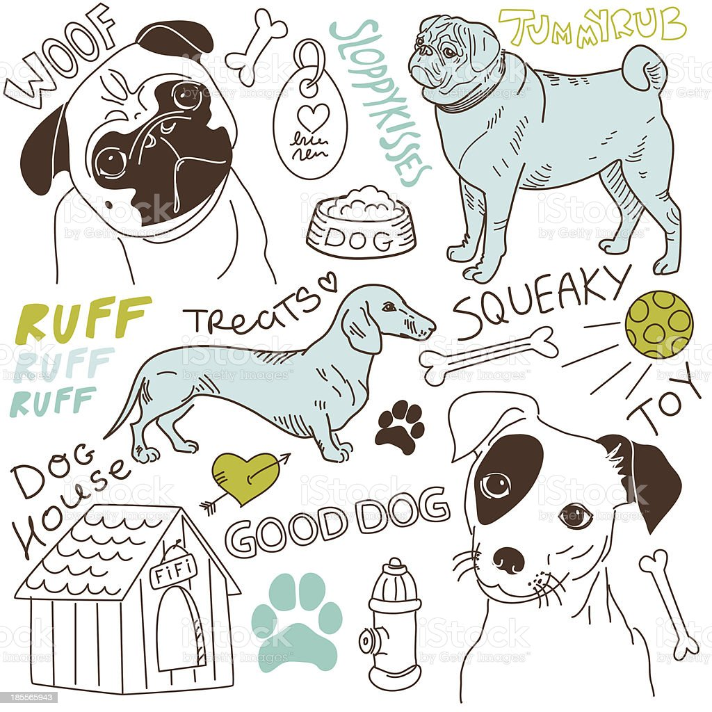 Cartoon doodles of various dog breeds and words royalty-free stock vector art