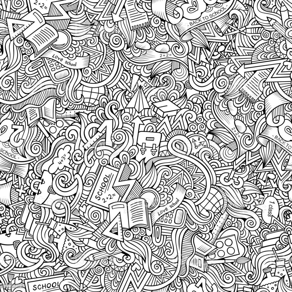 Cartoon doodles School seamless pattern – Vektorgrafik