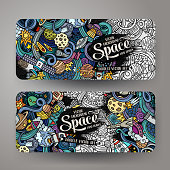 Cartoon doodles space banners