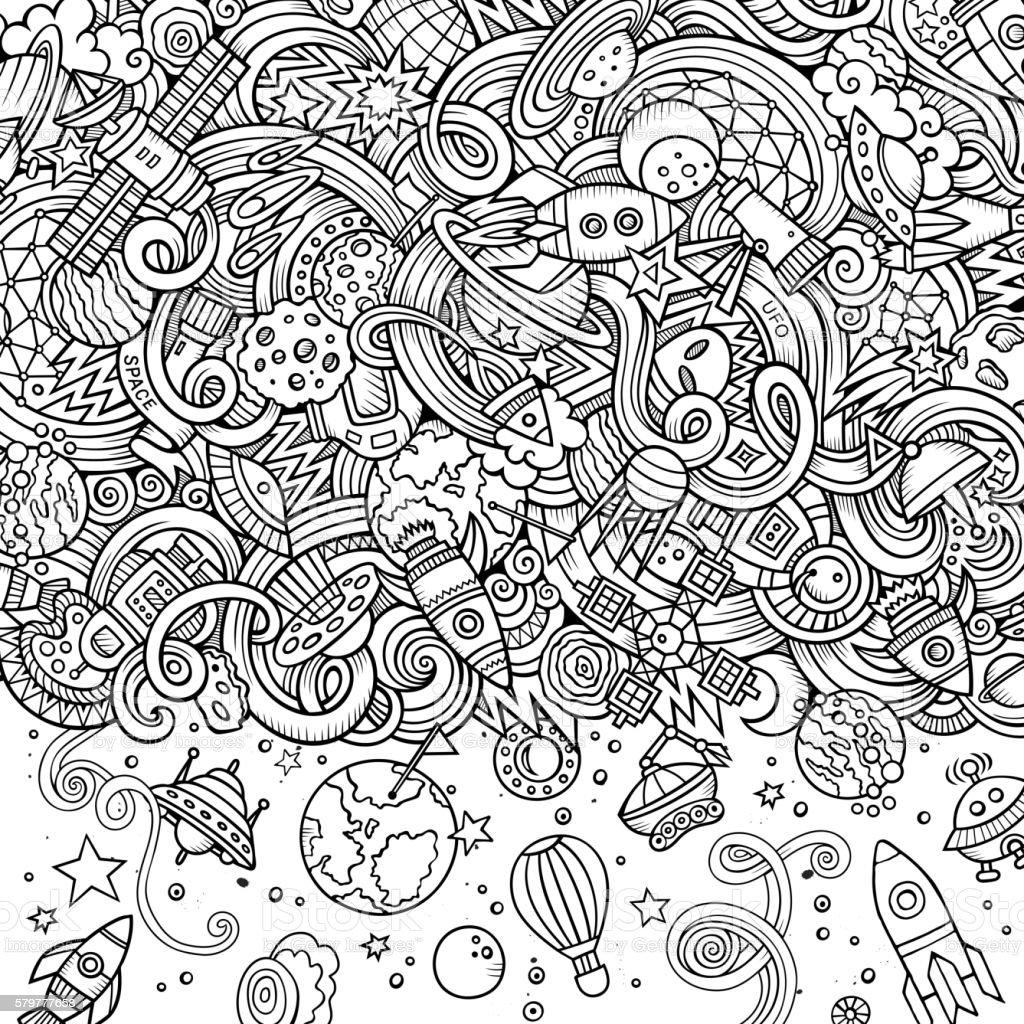 Cartoon Doodles Space Frame Stock Vector Art & More Images of Alien ...