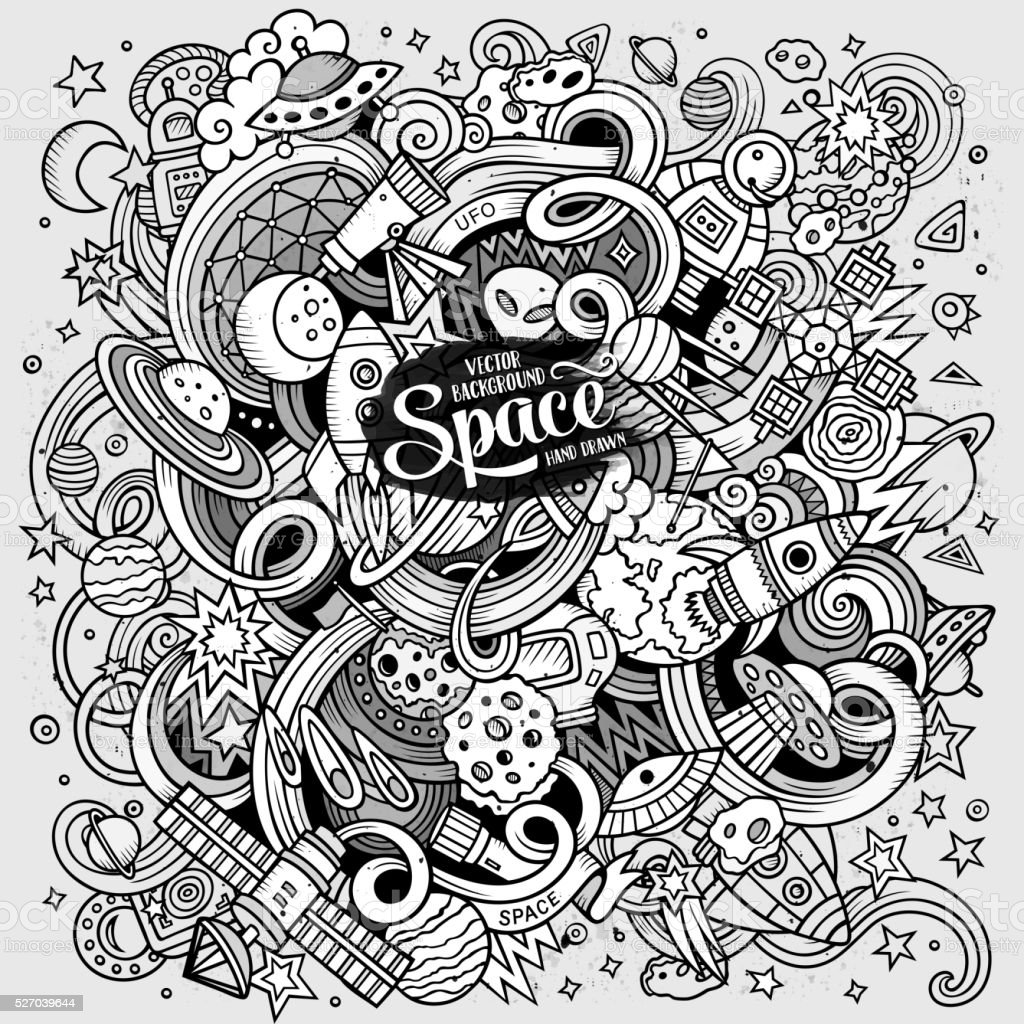 Cartoon doodles space illustration vector art illustration