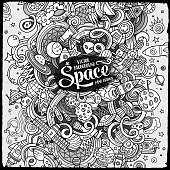 Cartoon doodles space illustration