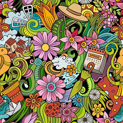 Cartoon doodles Spring seamless pattern.