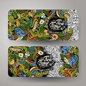 Cartoon doodles tea time banners