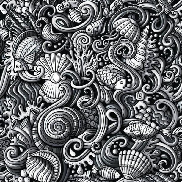 Cartoon Doodles unter Wasser Leben nahtlose Muster – Vektorgrafik