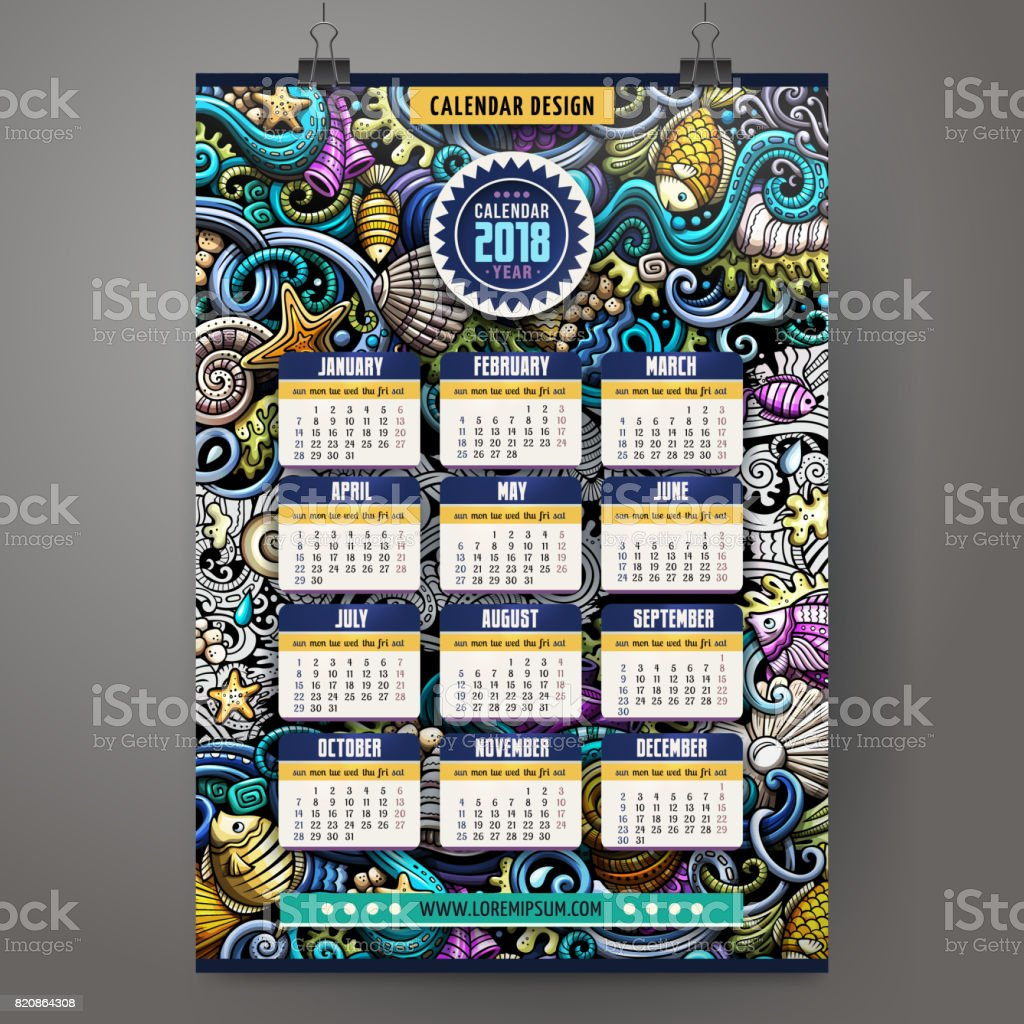 Cartoon doodles Underwater life 2018 year calendar template vector art illustration