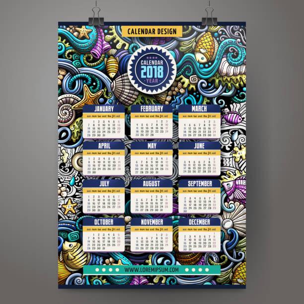 ilustrações, clipart, desenhos animados e ícones de desenhos animados doodles modelo de calendário de ano 2018 vida subaquática - calendário de vida selvagem