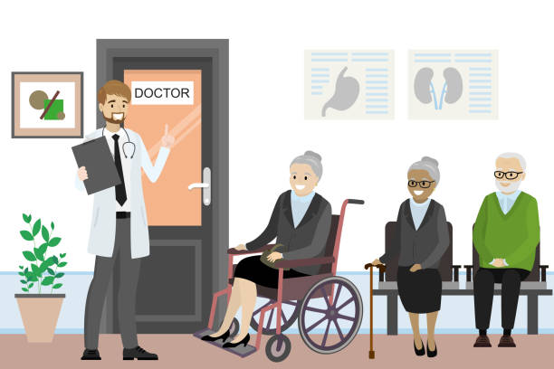 cartoon door to the doctor's office and old people are waiting - old man in black stock illustrations, clip art, cartoons, & icons