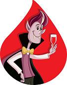 Cartoon Dracula Celebrating Halloween Vector Cartoon