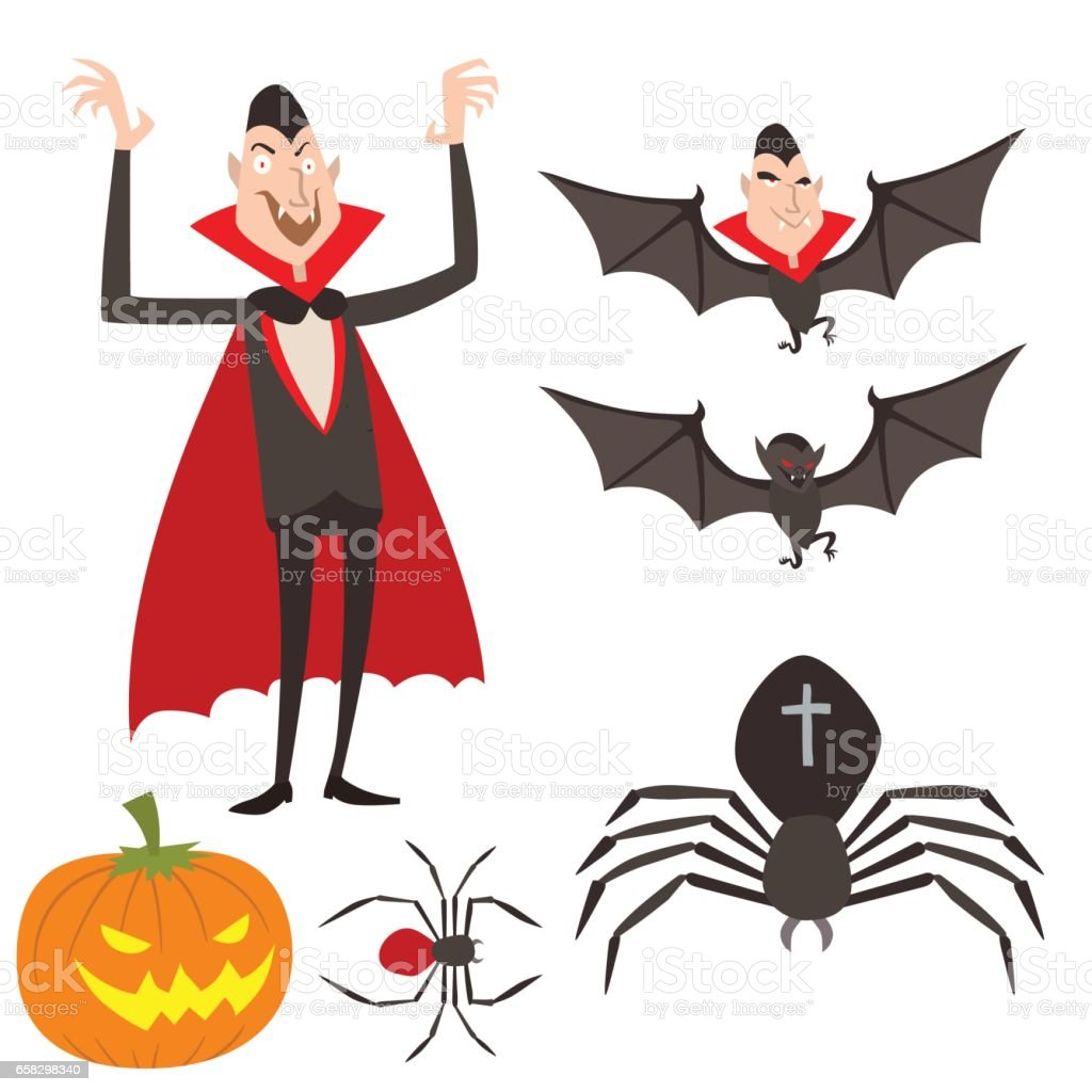 Cartoon dracula vector symbols vampire icons character funny man comic halloween and magic spell witchcraft ghost night devil tale illustration vector art illustration