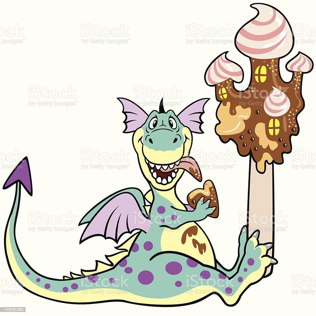 Comic Dragon Essen Schokolade Castle Stock Vektor Art Und Mehr