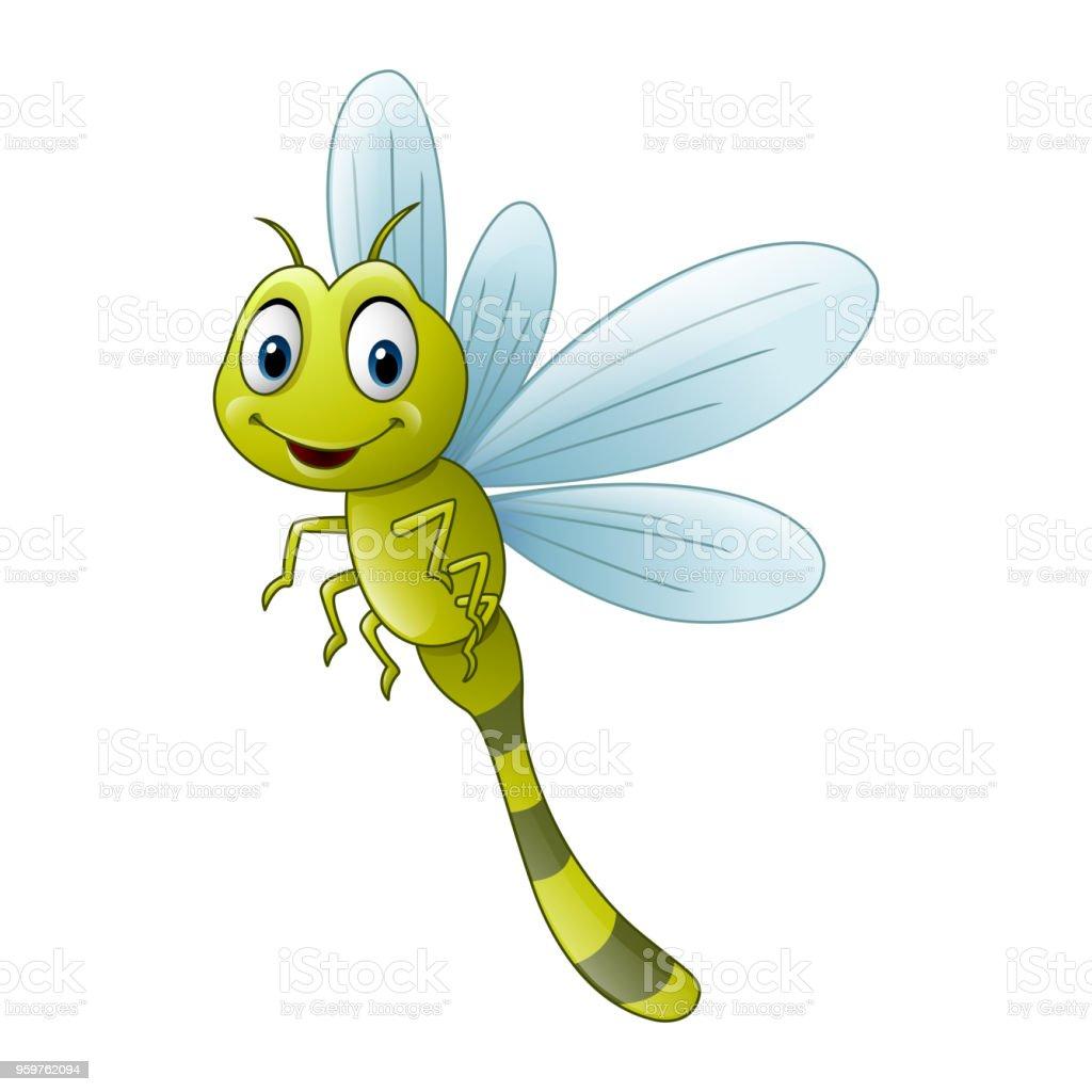 Cartoon dragonfly vector art illustration