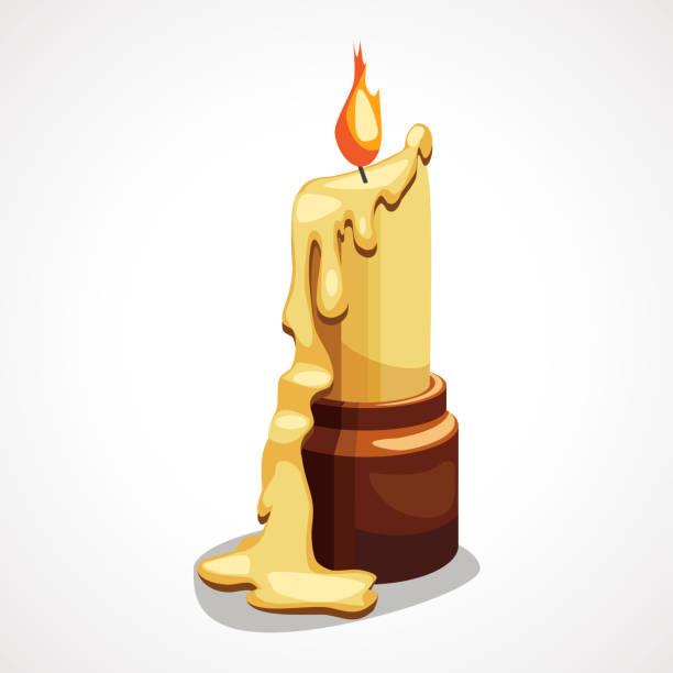 karikatur zeichnet brennende kerze mit tropfendem wachs - bienenwachs stock-grafiken, -clipart, -cartoons und -symbole