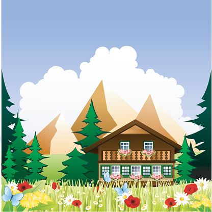 A cartoon drawing of a chalet in the mountains