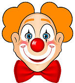 Cartoon drawing of a clown face with orange hair