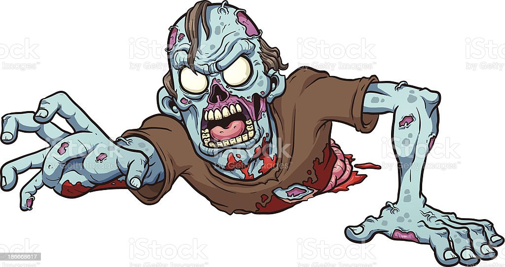 Cartoon drawing of a crawling zombie vector art illustration