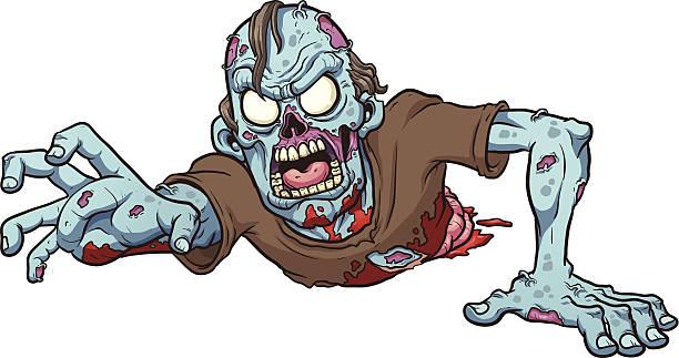 bildbanksillustrationer, clip art samt tecknat material och ikoner med cartoon drawing of a crawling zombie - zombie