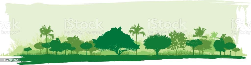 A cartoon drawing of a forest in shades of green vector art illustration