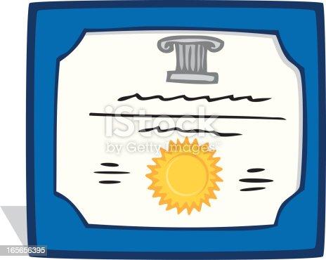 Cartoon Drawing Of A Framed Certificate Stock Vector Art ...