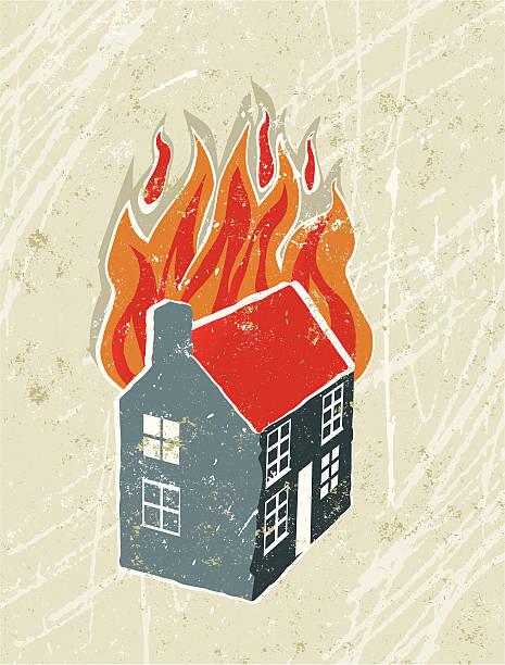 bildbanksillustrationer, clip art samt tecknat material och ikoner med cartoon drawing of a house on fire with a white background - house after fire