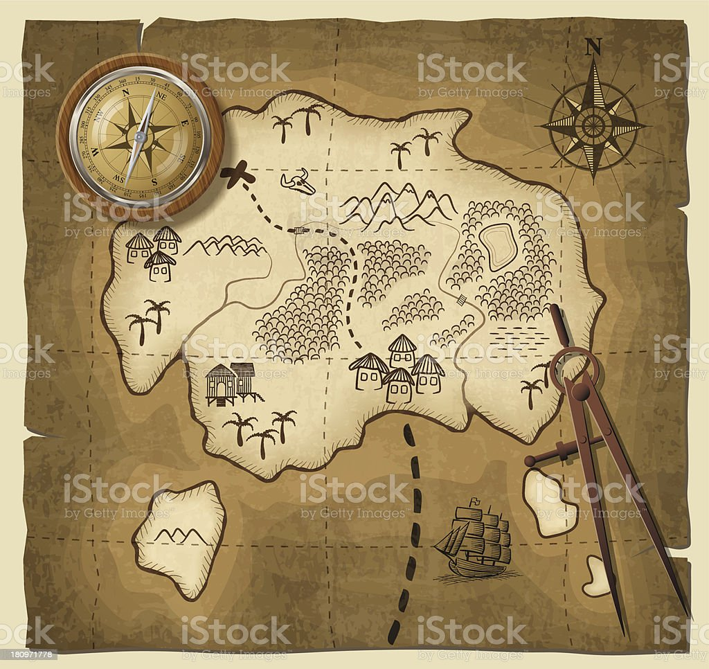 A cartoon drawing of a map with a compass vector art illustration