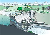 An a vector illustration of power plant.